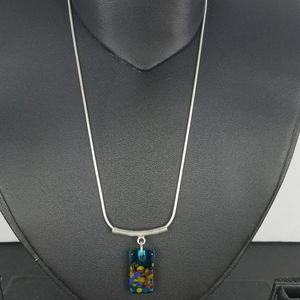 Jewelry - Sterling silver 925 blown glass pendant necklace.